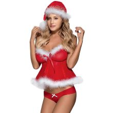 New Womens Ladies Christmas Sexy Babydolls Lingerie Lace Tops Exotic Tanks G-string Underwear Set Nightwear Sleepwear(China)