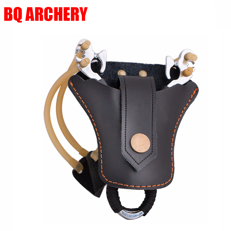 1pc Slingshot Double Layer Cow Leather Sheath for Outdoor Hunting Sling Shot Catapult Bag Case Pouch Holster Accessories Tools