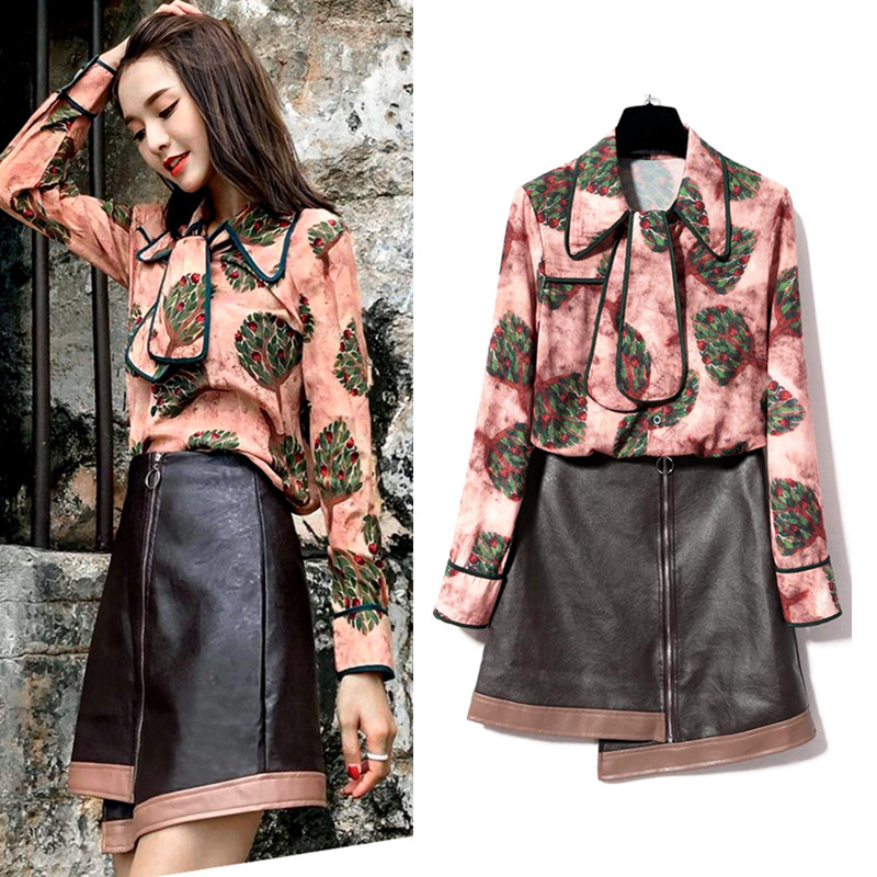 Autumn Elegant Women Vintage Floral Print Blouse Bows Shirts And PU Spliced Irregular Party OL Skirts Clothing Set Suits NS912