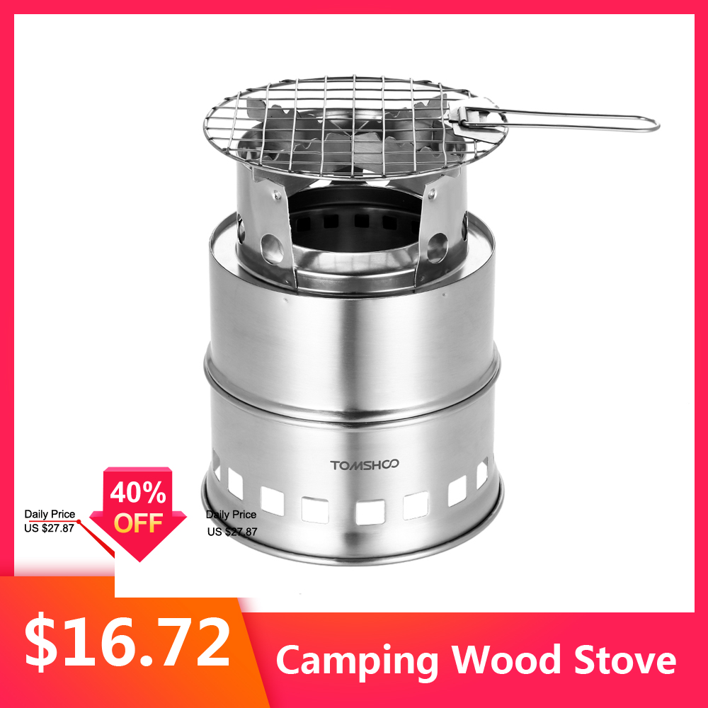 Outdoor Camping Stove Portable Silver Steel Wood Stove Camping Equipment