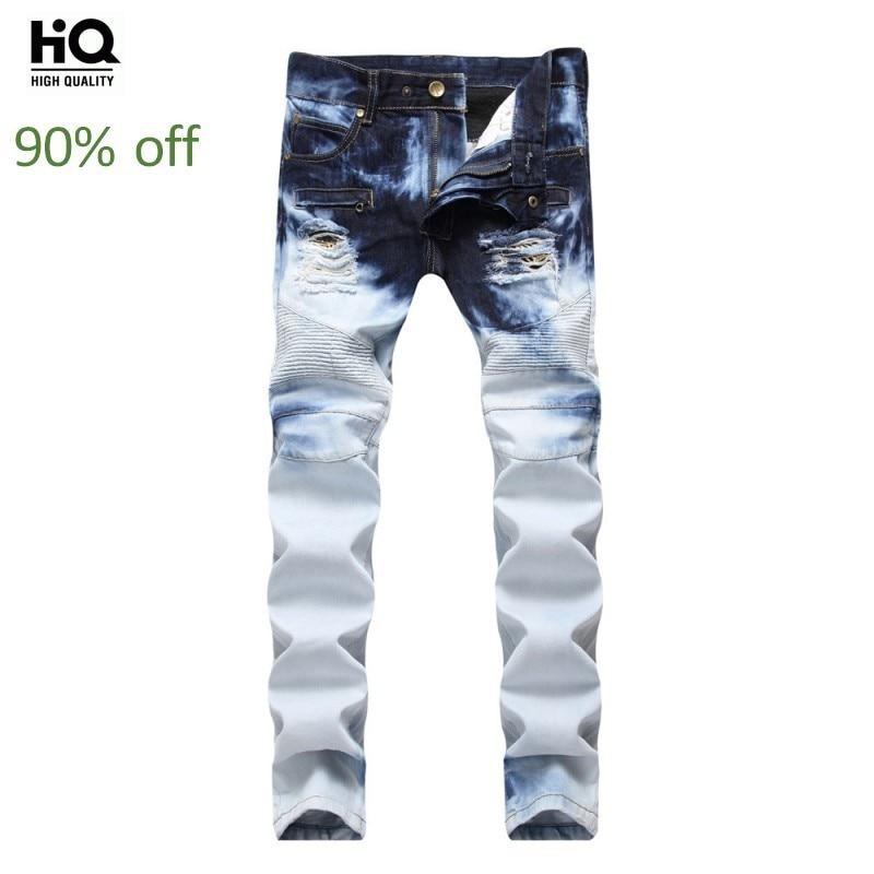 Casual Male Jeans Autumn Europe Fashion Straight Biker Slim Hole Ripped Full Length Denim Trousers Streetwear Zipper Pants Man