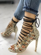 Women Gladiator Shoes Hollow Multi-Strap Snake Skin Lace Up Sandals Cut Out Cover Heel Stiletto Shoes High Top Summer Booties multi color gladiator sandal women high heel summer shoes women korean sandals multi colored heel shoes for women real image