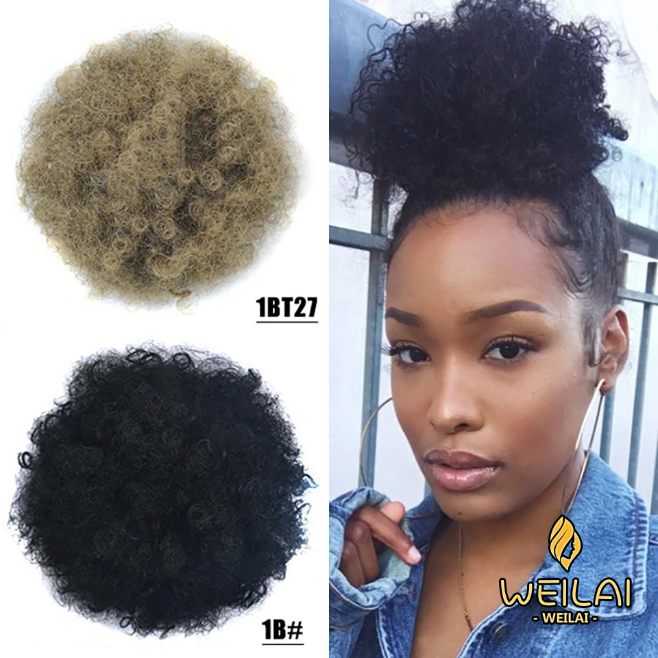 WEILAI Short Kinky Curly Drawstring Bun Afro Black Red African American Chignon Bun Hair Pieces With Clip