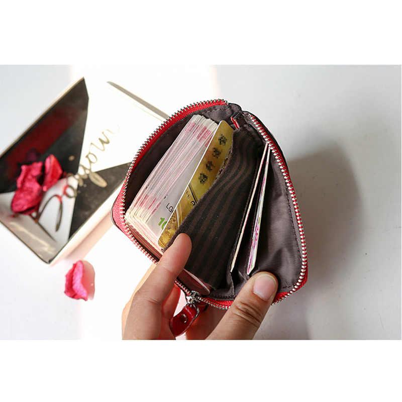 ファッション女性財布本革ミニスリムジッパーコイン財布旅行マルチスロット Id カードホルダー女性ショートクラッチバッグ