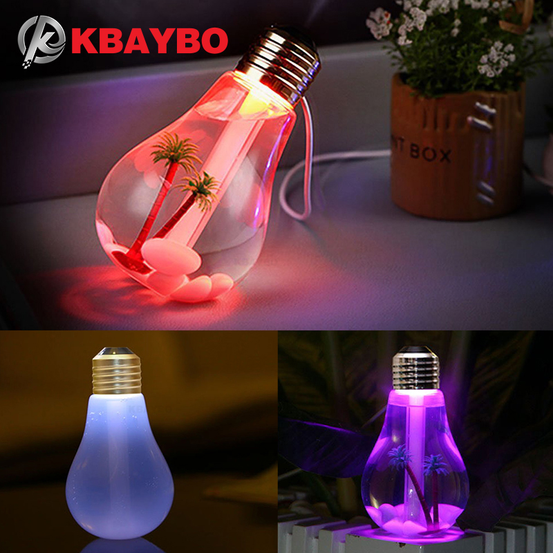 KBAYBO Mini Bulb Diffusers USB Air Humidifier Diffuser LED Night Light  Creative Bottle Aromatherapy Mist Maker For Home Office