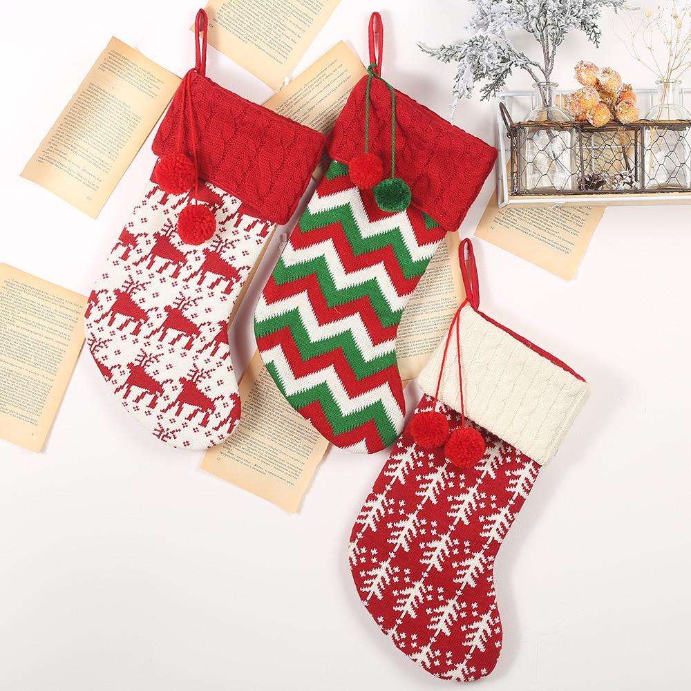 New Large Christmas Stockings Gifts Cloth Santa Elk Socks Xmas Lovely Gift Bag For Children Tree Christmas Decoration gifts 2019 in Stockings Gift Holders from Home Garden