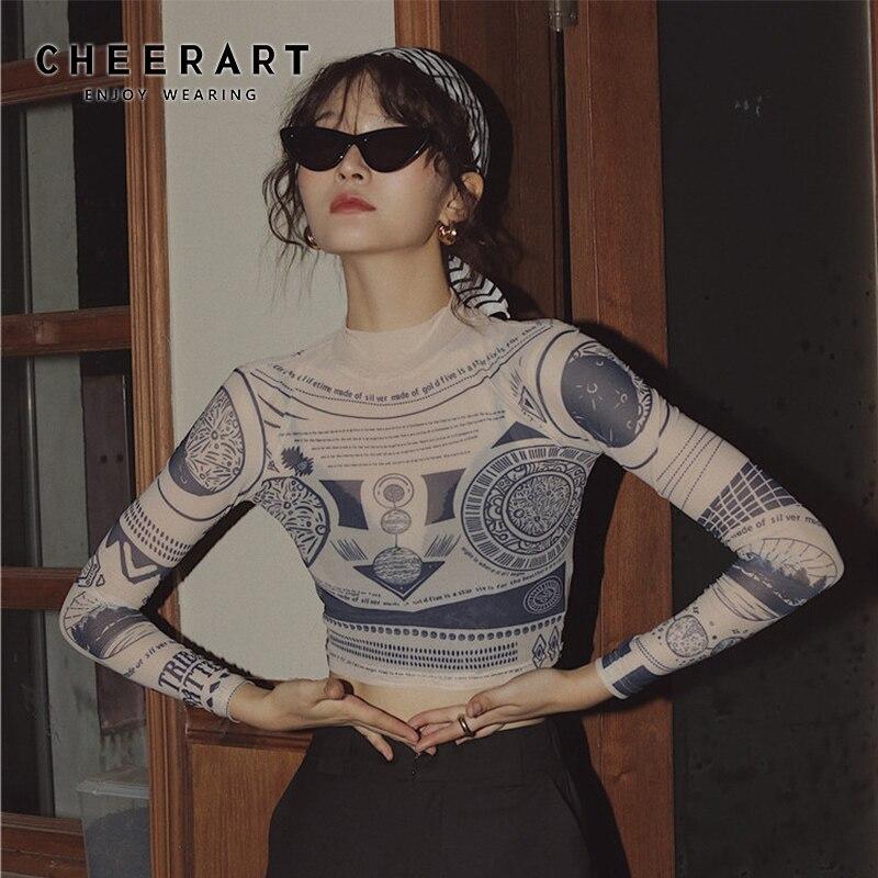 Camiseta de manga larga con dibujo tatuaje de CHEERART, Top corto con cuello de tortuga transparente, Camiseta básica, camiseta Indumentaria de moda urbana