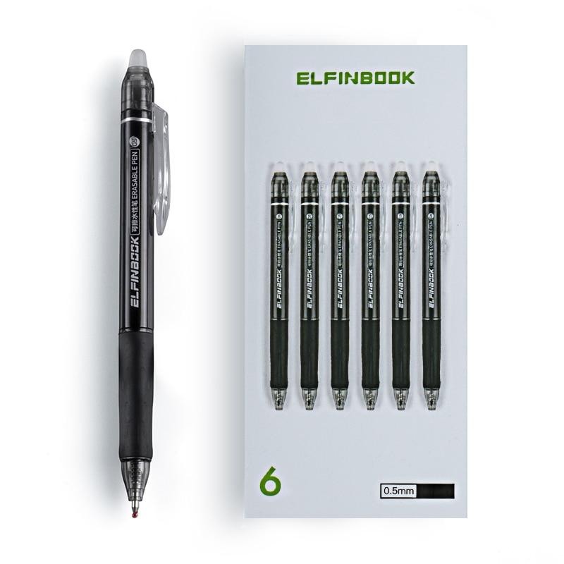 Офисная гелевая ручка со стираемыми чернилами, 6 шт./компл., стираемая ручка, 0,5 мм, черные чернила, школьные канцелярские принадлежности для ...