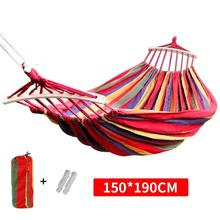 190x150cm Hanging Hammock with spreader bar Double/Single Adult Strong Swing Chair Travel Camping Sleeping Bed Outdoor Furniture
