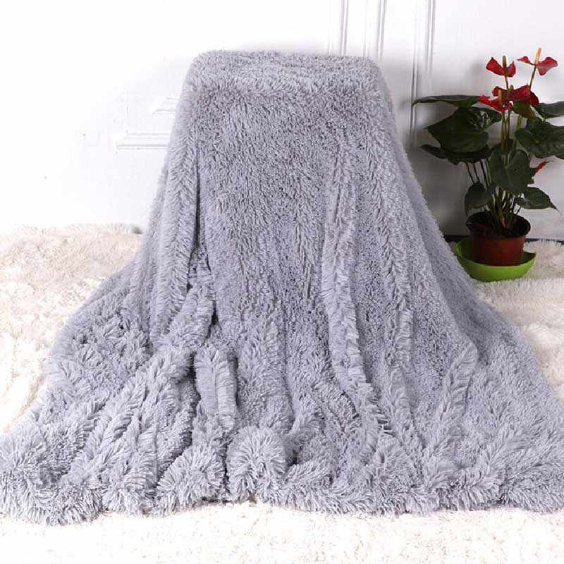 Shaggy Fuzzy Fur Winter Warm Blanket Office Fluffy Rest Plaid Sofa Couch Bedding Cover Bedsheet Student Home Bedspread