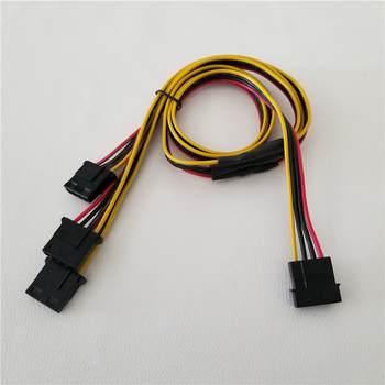10pcs/lot IDE Molex Power Cable 1 to 3 Splitter Extension Power Supply Wire High Specification Pure Copper Tin 16AWG