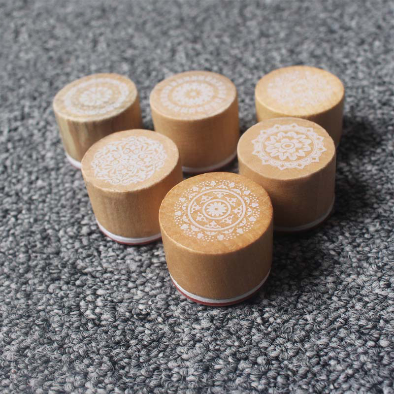 Round Wood Pattern Stamp Retro Seal Seal Puzzle Toys Children/kids DIY Handmade Materials