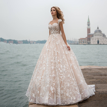 Light Pink Elegant Wedding Dress For Woman Formal Bride Bridal Gowns With Exquisite Lace Applique Ball Gown Sweep Train 2021