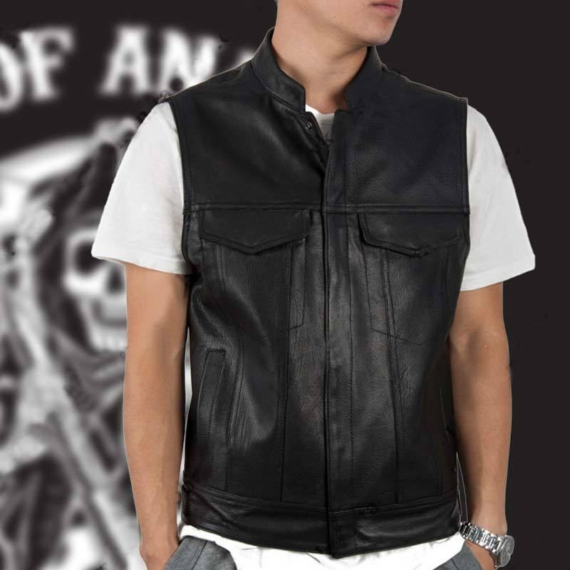 TV Sons of Anarchy Adult Men Women Black Color leather Motorcycle Vest Sleeveless Jackets Punk Waistcoat Cosplay Costume