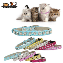 SUPREPET Diamond Rhinestone Shining Dog Cat Collar Pu Leather Puppy Small Accessories for Chihuahua