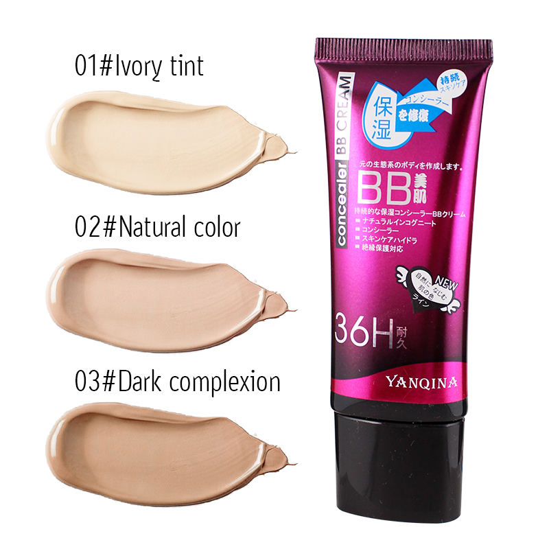 YANQINA BB CC Cream Face Care Concealer Liquid Whitening Foundation Sunscreen Oil-control Maquiagem Base Bare Korean Cosmetics image
