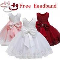 Vestido de bautizo de 0 a 5T para niña, vestido de bebé con lazo, tutú de encaje, vestidos de bautismo para niña, traje de fiesta de cumpleaños para niño pequeño