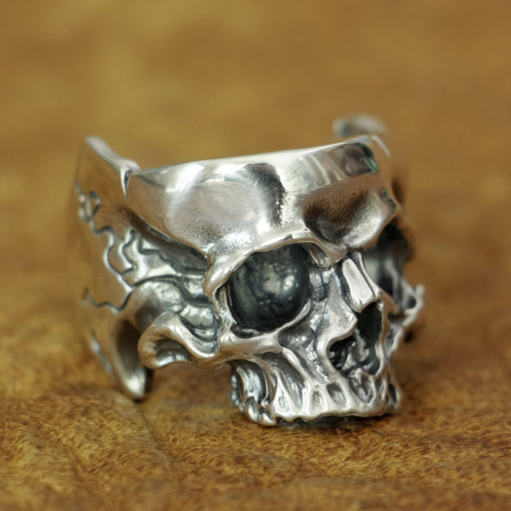 925 Sterling Silver Head Open Twisted Skull Ring Mens Biker Punk Ring TA186