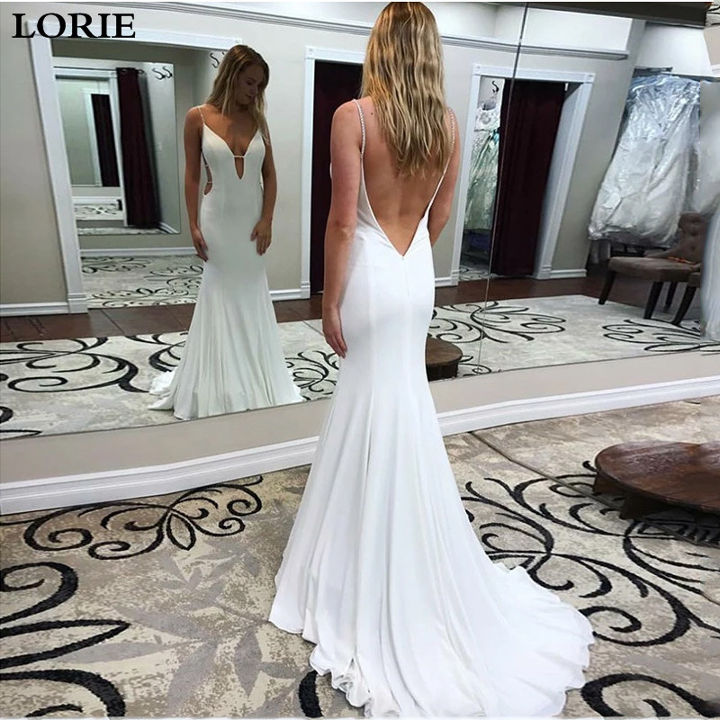 LORIE Mermaid Wedding Dress 2019 Spaghetti Straps Sexy Bridal Gown Elegant Backless Wedding Bride Dress Vestidos De Novia