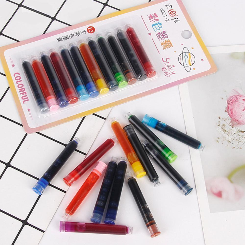 12pcs/pack Colored Ink Cartridge Refills Ink Sac For Fountain Pens Ink Refills Disposable Office School Supplies Cute Stationery