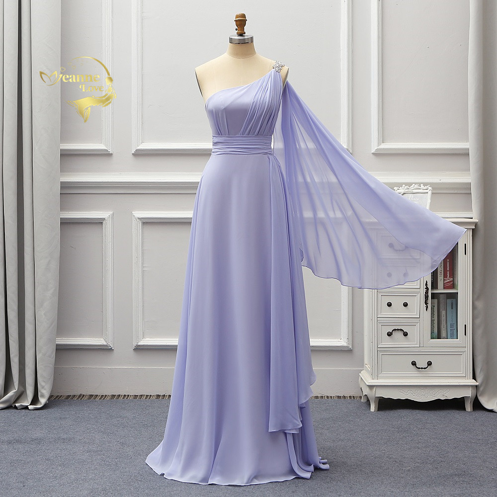 One Shoulder Long Wedding Chiffon Bridesmaid Dresses Formal Party Gowns Vestidos De Fiesta De Noche Gelinlik 2020 New BR02