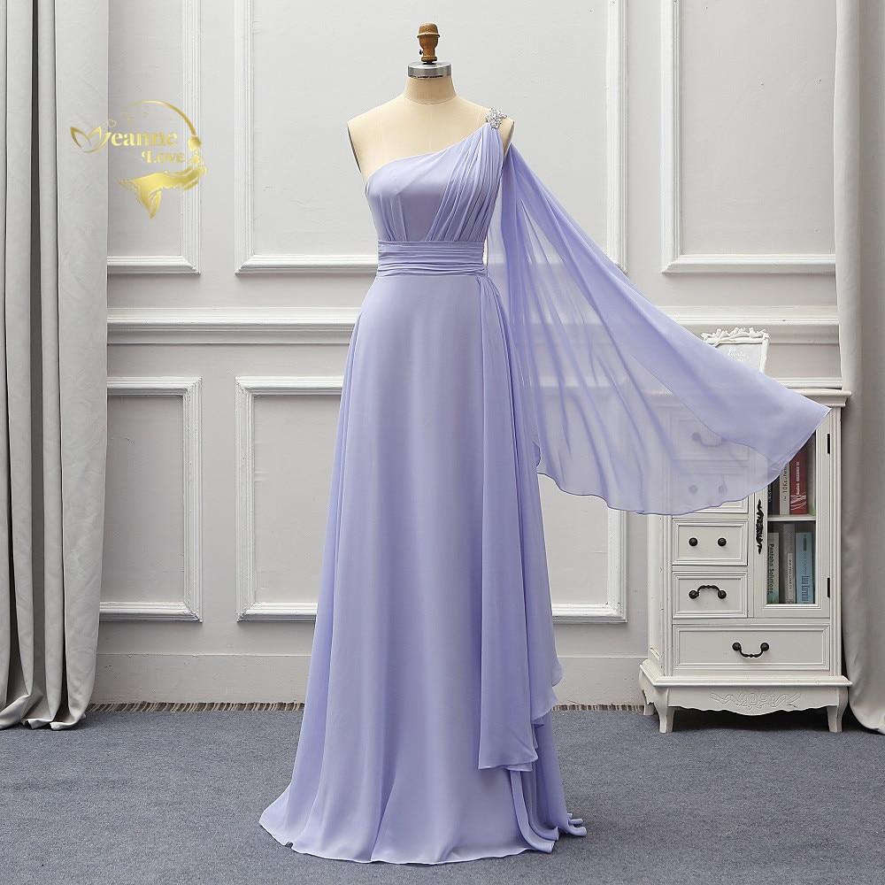 One Shoulder Long Wedding Chiffon Bridesmaid Dresses Formal Party Gowns Vestidos De Fiesta De Noche Gelinlik 2020 New BR02