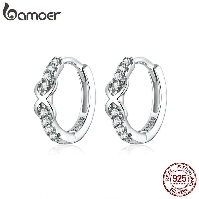 bamoer 100% Pure 925 Sterling Silver Jewelry Infinite Love Hoop Earrings for Women Luxury Engagement Statement Jewelry SCE872(China)