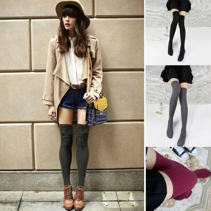 1 par de calcetines para mujer y niña hasta la rodilla, calcetines largos de punto suaves de Corea para primavera y otoño e invierno, medias lisas sueltas