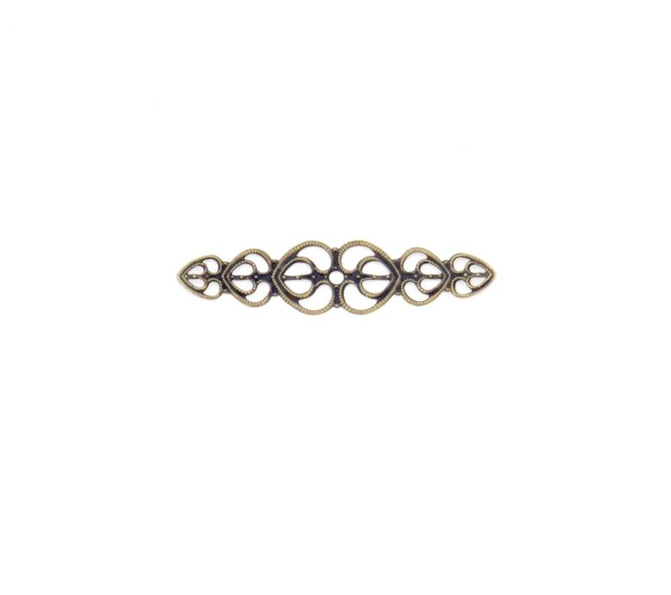 Free Shipping 20Pcs Bronze/Gold/Silver Filigree Love Heart Wraps Connectors Embellishments Decoration DIY Findings 5.3x1.4cm