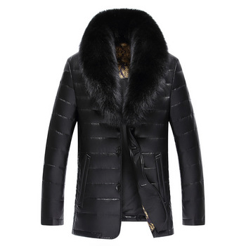 Winter New Big Real Fur Collar Veste Homme Cuir White Duck Down-padded Jaket Kulit Pria 1