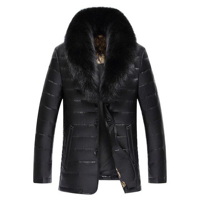 Winter New Big Real Fur Collar Veste Homme Cuir White Duck Down-padded Jaket Kulit Pria 1