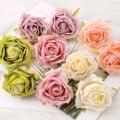 30PCS Oil Painting Vintage 7cm Rose Artificial Silk Flower Heads Wedding Decoration DIY Wreath Scrapbooking Craft Fake Flowers