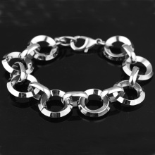 Granny Chic Personality Simple Round Bracelets Silver Color Stainless Steel Charms For Women Men Gift