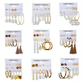 Pendientes de aro coreanos para mujer, 6 pares, 2020, pendientes de borla en forma de perla cuadrada con forma de corazón, pendientes de mariposa, regalos de joyería