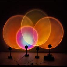 Usb pôr do sol lâmpada arco-íris atmosfera led night light pôr do sol lâmpada do projetor quarto decoração de fundo para casa lâmpada colorida