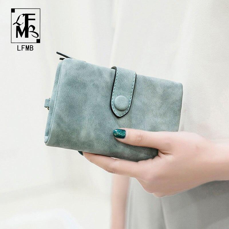 [LFMB]Women Wallet Female  Leather Wallet Matte Wallet Short Cartera Mujer Cute Tri-fold Multi-card Female Wallet
