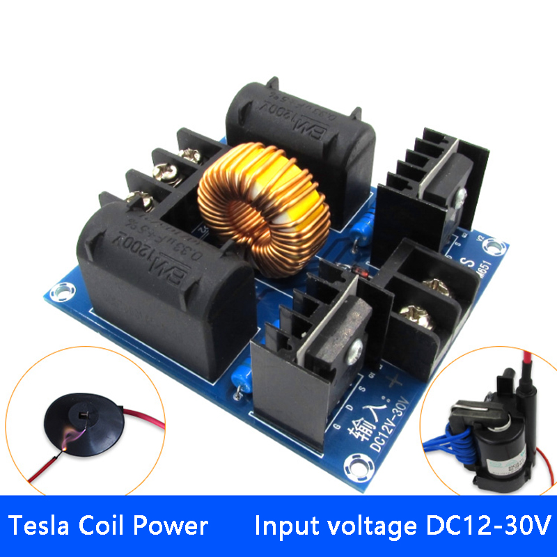 ZVS Tesla Coil Driver Genrator Board High Voltage Discharge Flyback Generate Module 12-30V 60-300W Long Arc 10A 30-50kHz