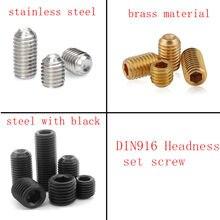 10-50 шт. DIN916 черный или комплект винтов из латуни M1.6 M2 M2.5 M3 M4 M5 M6 M8 Безголовый шестигранный винт из нержавеющей стали
