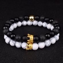 Bracelets à breloques pour hommes et femmes, ensemble de 2 pièces, couronne, perles en pierre naturelle, Couple, cadeaux, bijoux pour amis