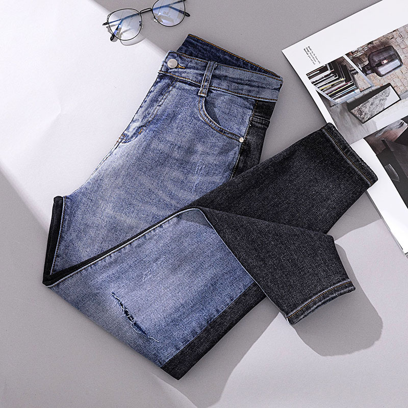 Plus-sized WOMEN'S Dress Fat Mm Loose-Fit Skinny AB Plane Jeans Fashion With Holes Joint Trousers A Generation Of Fat