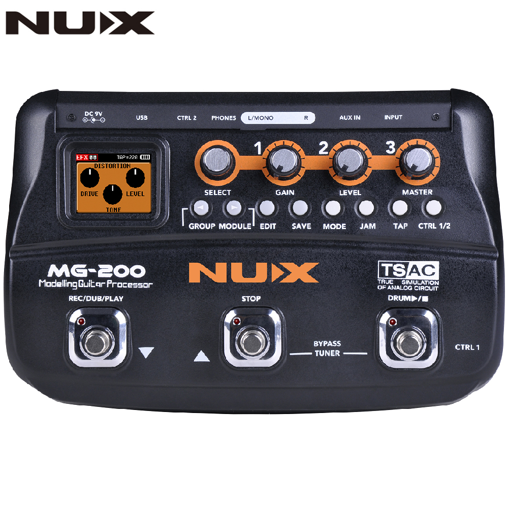 NUX MG200 MG-200 Guitar Processor Multi Guitar Effect Pedal 55 Effects 70s Recording Guitar Looper Drum Machine Pedal Adapter