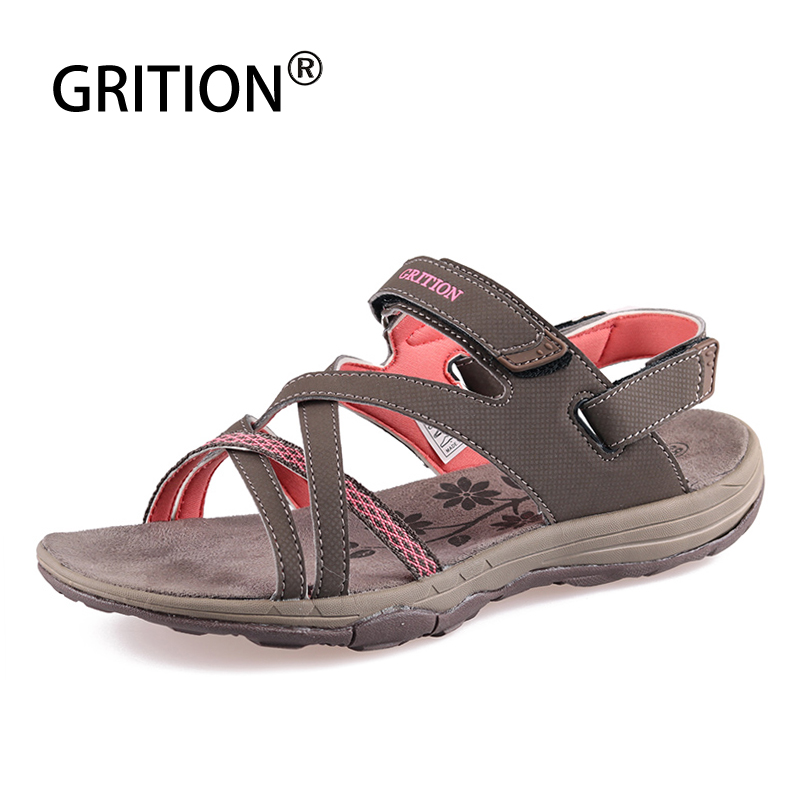 GRITION Women Summer Sandals Outdoor Flat Breathable Beach Shoes New Brand Designers Hiking Trekking Sandals Female Shoes 2020