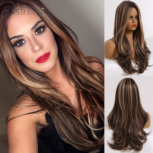 EASIHAIR Long Wavy Brown Synthetic Wigs With Blonde Highlights Cosplay Natural Hair Wigs High Temperature Fiber For Black Women(China)