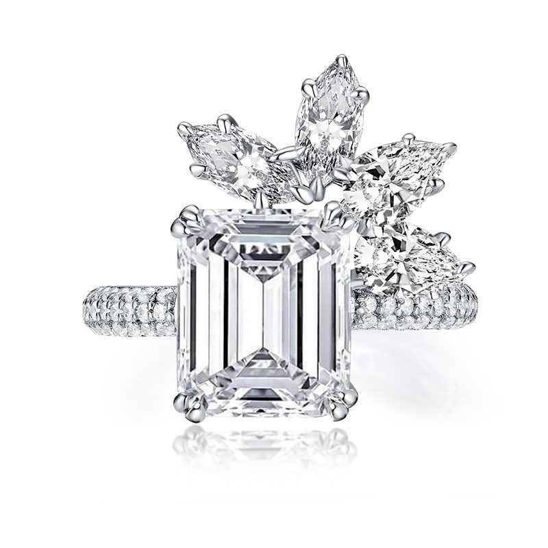 AINUOSHI роскошное серебро 925 пробы 4,0 карат большое Изумрудное ограненное обручальное кольцо с цветком имитация бриллианта женские свадебные 9x11 мм Серебряные Ювелирные Кольца Подарочные