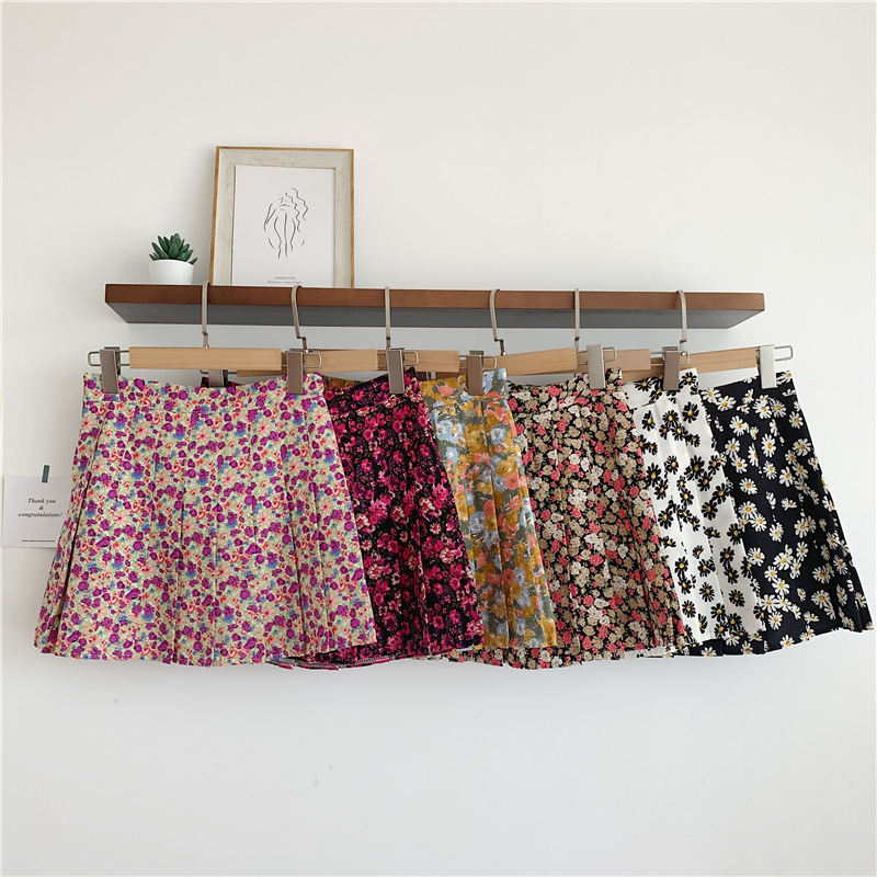 Vintage Floral Skirt Women 2020 Summer New Daisy High Waist Skirt Female All-match Student Skirt A Word Bag Hip Skirt