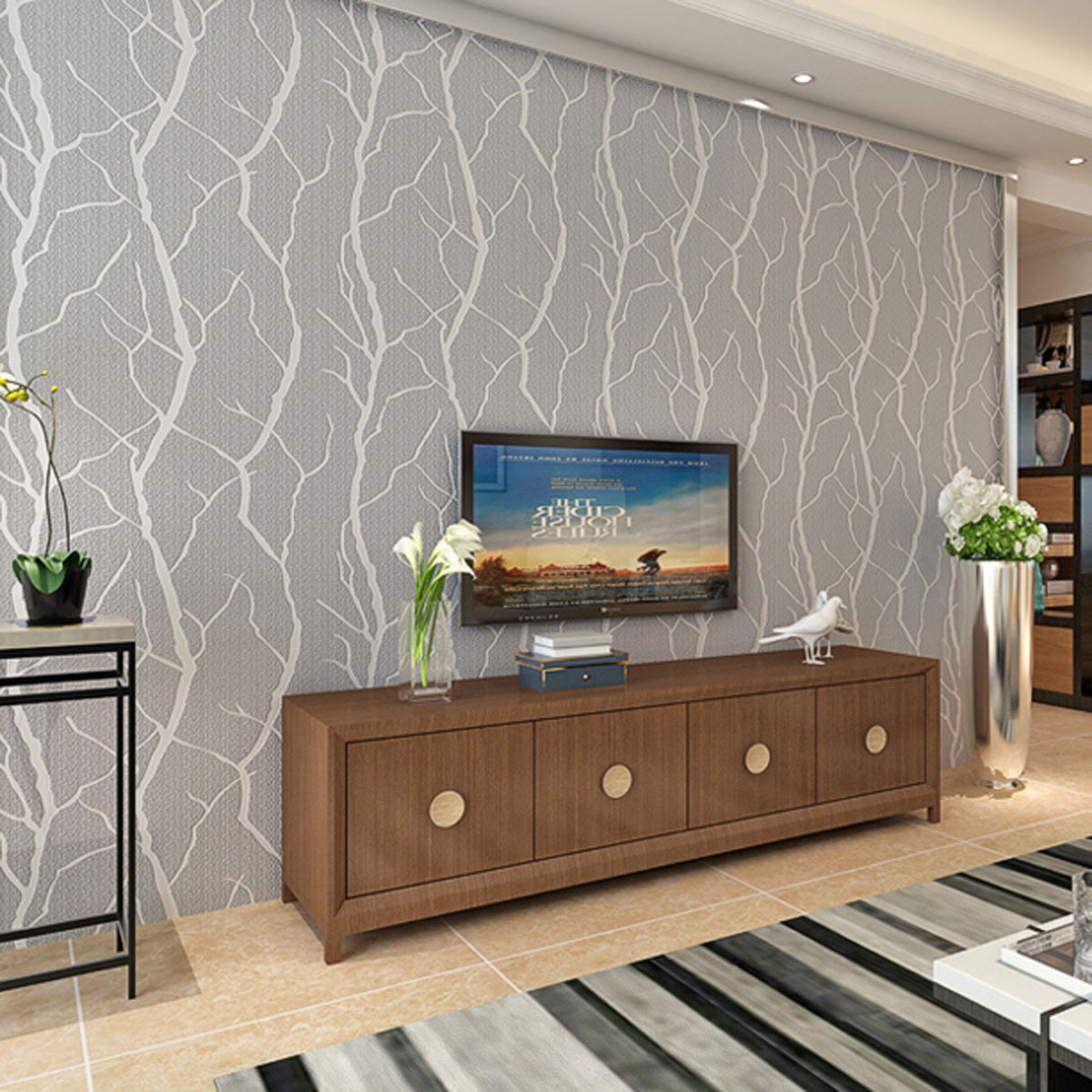 Modern Minimalist Style Branch Suede Non-woven Wallpaper 3D Relief Thick Bedroom Living Room Thick Background Wallpaper