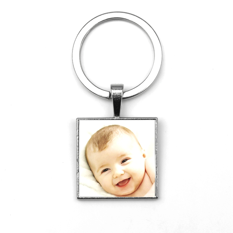 Personalized Photo Pendants Custom Square Keychain Photo Your Baby Child Mom Dad Grandparent Loved Gift For Family Member Gift