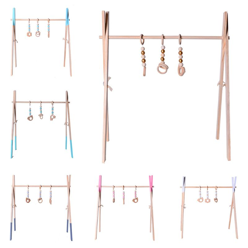 Nordic Style Wooden Baby Fitness Rack Children Room Decoration Toy Foldable Newborn Game Frame Hanging Rod Infants Showr Gifts