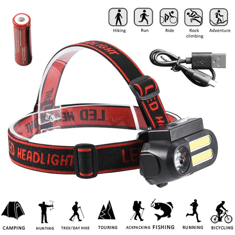 Portable Mini XPE+2* COB LED Headlamp Work Light Waterproof Headlight Use 18650 Battery