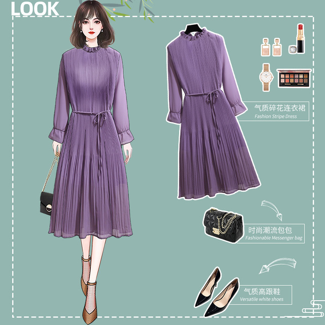 Women's Clothing 2021 Spring Autumn Fat Mm Fashionable Stylish Slim Pleated Chiffon Sexy Maxi Summer Party Long Dress Vintage 1